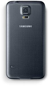 samsung phone back. the back of samsung galaxy s5 is shown. phone \