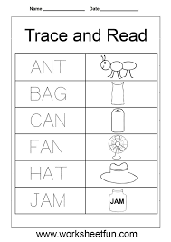free collection of 40 worksheets for kindergarten three letter words