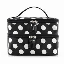 new arrival large capacity cosmetic make up organizer bag dot women handbag portable storage bags makeup