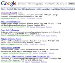 As you can see  the word resume is still in the url's, even though I  used -inurl:resume.