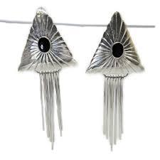 sterling silver southwest black onyx chandelier dangle earrings