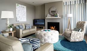 Taupe living room color with touches of blue