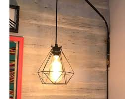 plug in pendant lighting. plug in bedside pendant light diamond cage modern fixture hanging bedroom lamp black geometric lighting i