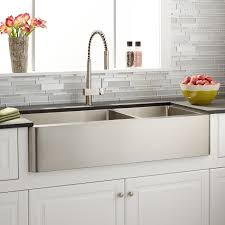 42 hazelton 60 40 offset double bowl stainless steel farmhouse sink