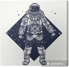 Obraz Astronaut Tetování Kosmonaut Ve Vesmíru Trojúhelníkové Stylu Na Plátně