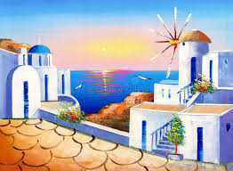 oil painting greece stock ilration ilration of landmark 68325962