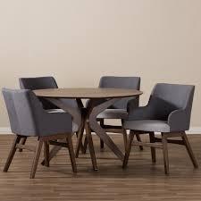 baxton studio monte midcentury modern walnut wood round piece