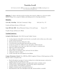 Resume Objective For Daycare