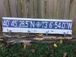 Personalized Family Coat Rack Personalized latitude longitude coat rack signcustom longitude 44