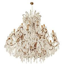 impressive italian chandelier with vintage murano glass crystals for