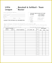 Little Player Roster Template Hockey 8 Free Word Excel