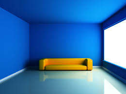 Yellow Couch with Blue Wall & Light Blue Floor