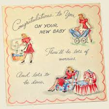 Congratulations On Your New Baby Card Vintage 1940s New Baby Card Congratulations To You On Your New Baby Unused Nearly New