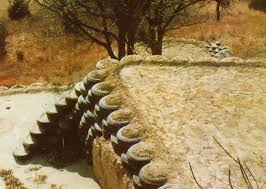 terraced retaining walls with old tires