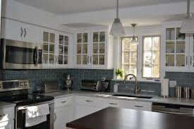 Porcelain Tile Kitchen Backsplash Subway Porcelain Tile With Granite Countertop On Green Cabinet