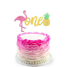 Flamingo Pineapple 1st First Birthday Cake Toppers Decoration