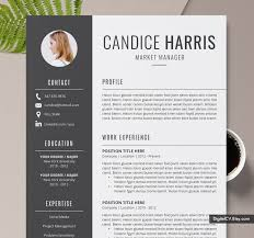 Resume Template For Word Cover Letter References Editable Resume 1 2 3 Page Creative Simple Resume Instant Download The Candice