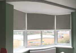 Blackout Roller Blinds For Bay Window Bedroom In Flint Grey Colour - Blackout bedroom blinds