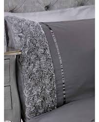 limoges rose ruffle grey super king quilt cover and pillowcase set