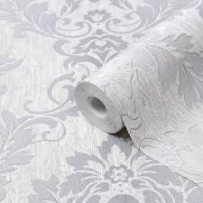 Goodhome Phacelia Grey Damask Textured ...