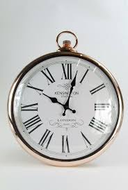 wall clock copper white black pocket
