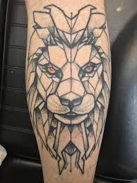 Geometric Lion Tattoo On My Calf Leg Mens Tattoo Leg Tattoo