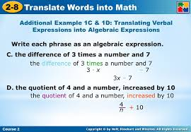 course 2 2 8 translate words into math write each phrase as an algebraic expression