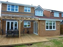 interesting over deck extension roof over patio supreme with part covered decking finished oak timber home design ideas bass boat to