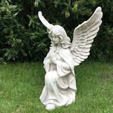 garden angel statues. LARGE KNEELING ANGEL GARDEN ORNAMENT STATUE GRAVE MEMORIAL SCULPTURE STONE EFFEC Garden Angel Statues