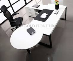 modern white simple high quality manager executive with vice round table office desk sz