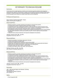 Veterinary Resumes Sample Veterinary Technician Resume