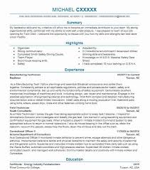 Manufacturing Technician Resume Sample Livecareer