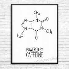 coffee print powered by caffeine quote typography kitchen decor molecule science formula printable p on organic chemistry wall art with science art set of 4 digital download organic chemistry art