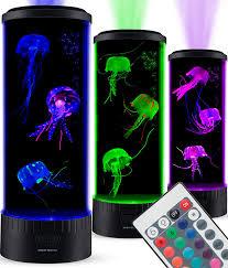 Jellyfish Tank Mood Light Amazon Sensorymoon Large Led Jellyfish Lava Lamp Aquarium Electric Round Jellyfish Tank Mood Light With 3 Fake Glowing Jelly Fish 20 Color Changing
