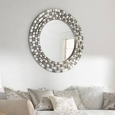 Palmer Frosted Tile Silver Finish Round Accent Wall Mirror by iNSPIRE Q  Bold by iNSPIRE Q