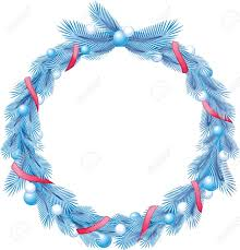 Blue christmas pine wreath with decorative ribbons and balls Stock Vector -  11571437