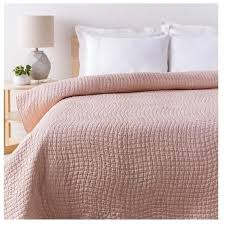 Shop Alba Solid Blush Pink Quilt - Chic Cotton and Silk Bedding & light-pink-quilts ... Adamdwight.com