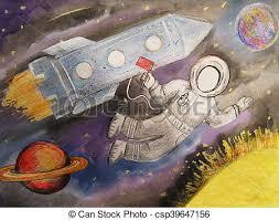 Planeta, rysunek, dzieci, rakieta, przestrzeń. Lot, rakieta, przestrzeń,  wszechświat, astronauci, planety. | CanStock