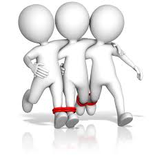 thor s hammer teamwork 4 legged race image by presentermedia