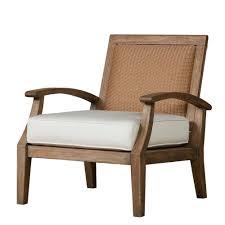 lloyd flanders wildwood teak lounge chair with loom back