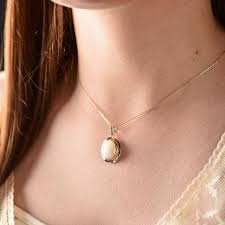 14k gold mother of pearl necklace