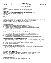 resume for radiologic technologist resumes design