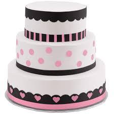 black fondant sheets polka dots and hearts three tier cake wilton