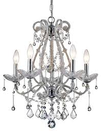alice candle style 5 light crystal chandelier ceiling fixture chrome