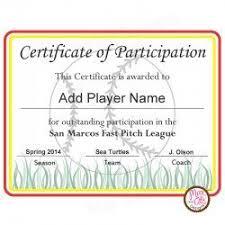 Softball Certificate Of Participation Softball Certificates