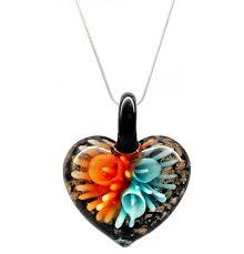 distinctive decorative red blue flower venetian murano glass love heart shaped pendant necklace