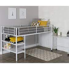 twin loft bed with desk and shelves in