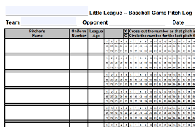 Little League Pitching Chart Game Day Preparation