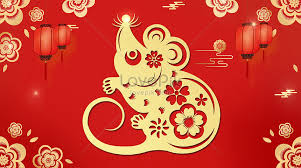 rat year red gold background creative