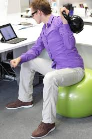 image of green ball desk chair